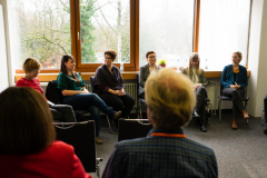 Talkrunde Dirigentinnen in der Blasmusik mit Jutta Mettig (Moderation), Marianne Halder, Isabel Gonzales, Susanne Bader, Petra Springer, Isabelle Gschwend und Irene Anda